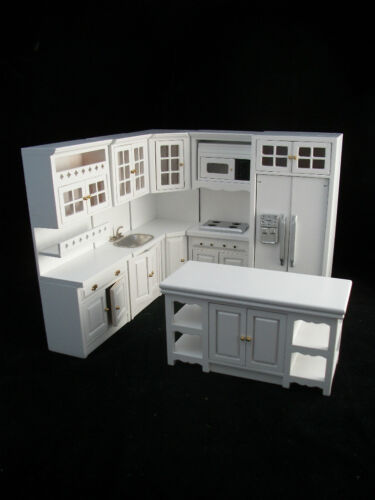 Deluxe Kitchen Set  White T5425 dollhouse miniature 8pc  1//12 scale painted wood