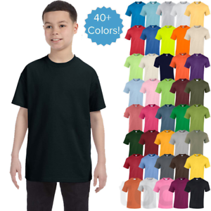 Gildan-Youth-Plain-T-Shirts-Solid-Cotton-Short-Sleeve-Blank-Tee-Top-XS-XL-G500B