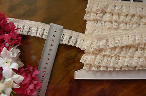 Nylon-Rayon-Pleated-Lace-CREAM-31mm-wide-5-Metre-Length-GaHg