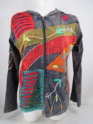 Rising International Handmade Nepal Gray Hippie Jacket Size L NWOT