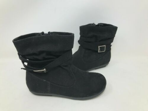 SO Youth Girls Layne Zipper Buckle Ankle Boots Black #83941 101U rk NEW
