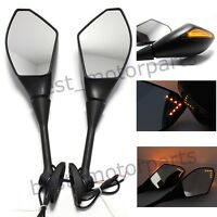 Custom Motorcycle Matte Black Led Turn Signal Hand Rear View Mirrors For Honda