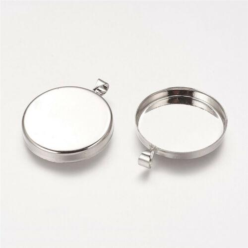 10 pcs Platinum Flat Round Brass Pendant Cabochon Settings Tray 25mm 32x26x4mm