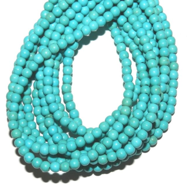 "GR688j Blue-Green Turquoise 4mm Semi- Round Magnesite Gemstone Beads 15"""