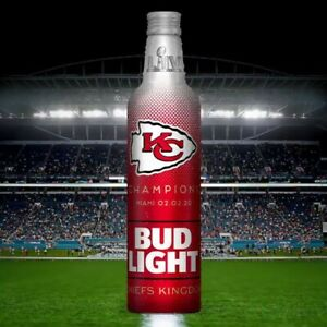 SUPER-BOWL-CHIEFS-KINGDOM-BUD-LIGHT-Aluminum-BOTTLE-EMPTY-UNOPENED-SEALED-KC