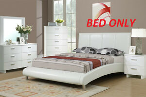 White Modern Full Size Bed Upholstered Faux Leather