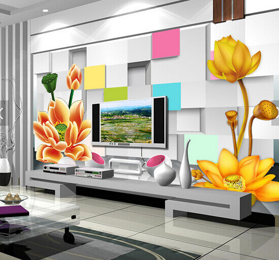 3D Gold Lotus Pattern 17 Paper Wall Print Wall Decal Wall Deco Indoor Murals