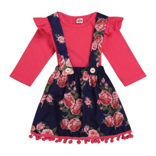 Baby Girl Long-Sleeves 2pcs Clothes Sets Rompers Floral Suspender Skirt WT7n