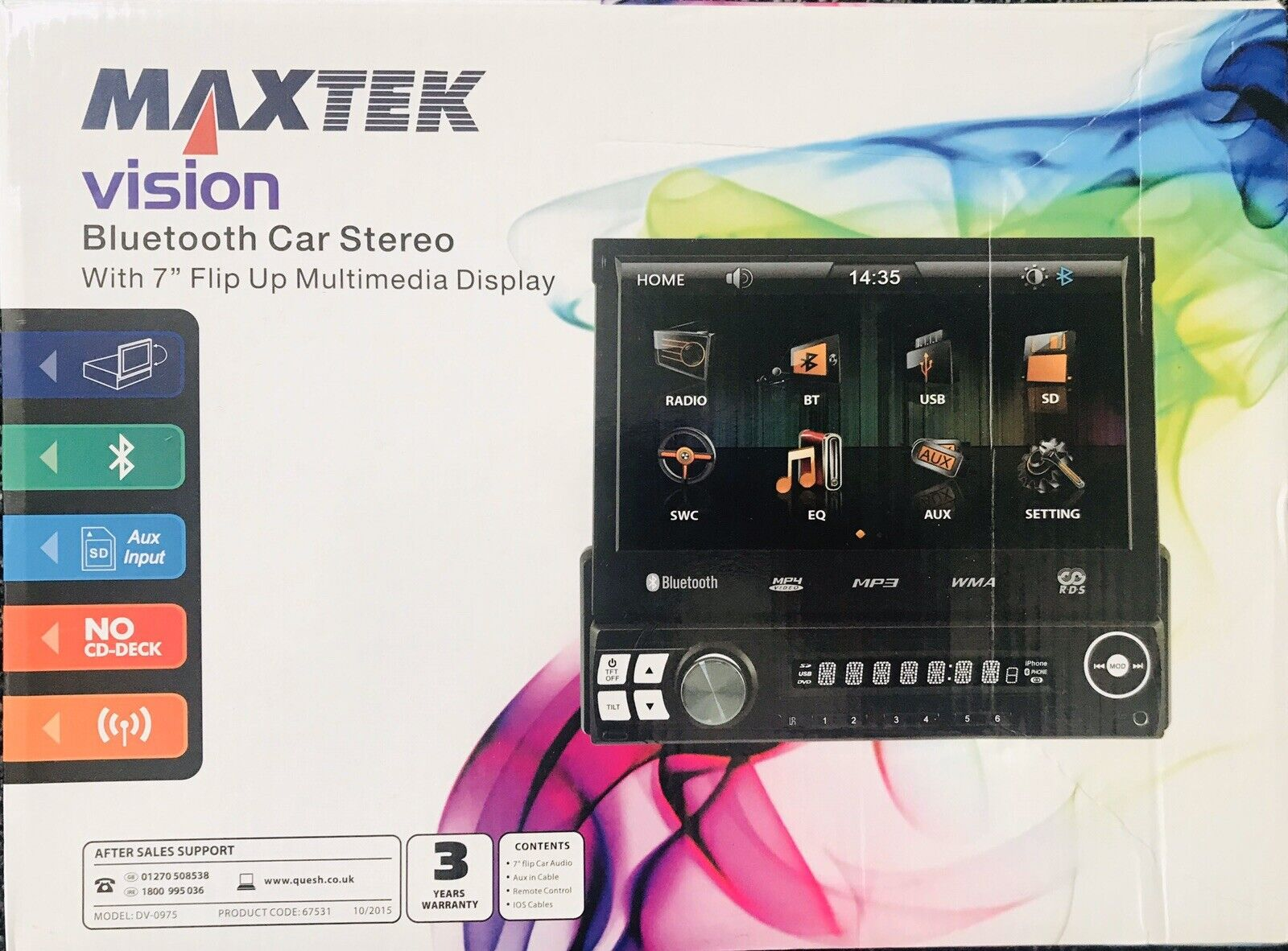 """MAXTEK VISION BLUETOOTH CAR STEREO WITH 7/"""" FLIP UP MULTIMEDIA DISPLAY REMOTE"""