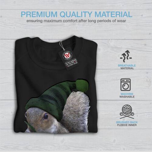 Wellcoda Green Squirrel Hat Womens Sweatshirt Nut Dwarf Casual Pullover Jumper
