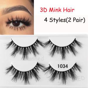 79375c947e7 SKONHED 2 Pairs 3D Mink Hair False Eyelashes Wispy Natural Long ...