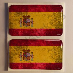 Pegatinas-Espana-Pegatina-Bandera-Manchada-Vieja-Adhesivo-3D-Relieve-Resina