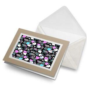 Greetings-Card-Biege-Retro-Pattern-Chevrons-80-039-s-Funky-8341