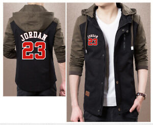 01e8640cad82 NEW Michael Jordan 23 Jacket Mens Hooded Button Men Fashion Coat ...