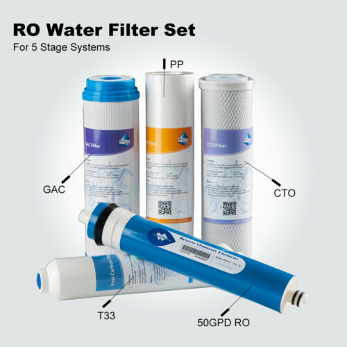 PP GAC T33 CTO Water Filter Set With 50GPD RO Cartridges for 5 Stage RO Systems