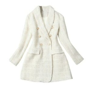 Womens-Jackets-Coats-Korean-Lapel-Double-breasted-Suit-jacket-Polyester-Casual