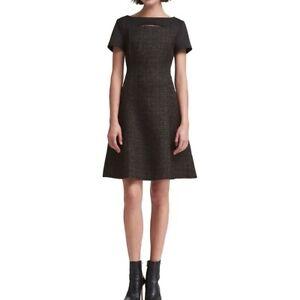 DKNY-NEW-Women-039-s-Short-Sleeve-Mixed-media-Fit-amp-Flare-Dress-TEDO