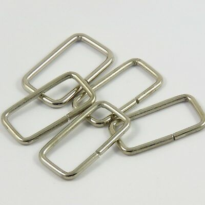 40mm 1 5//8 in Heavy Rectangle Metal Loop in Silver for Webbing Bag Making M013
