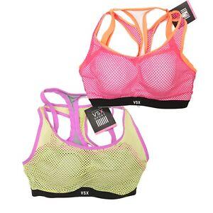New Victoria/'s Secret VSX Black Hot Pink Mesh Angel Racerback Sport Bra