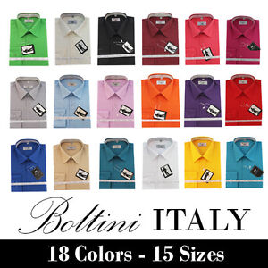 Boltini-Italy-French-Convertible-Cuff-Solid-Mens-Dress-Shirt-All-Colors-amp-Sizes