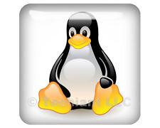 "Linux Tux Crystalized White 1""x1"" Domed Case Badge / Sticker Logo"