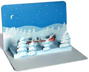3 d pop up cartolina natale paesaggio invernale con babbo - Babbo natale modello artigianale ...