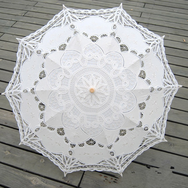 Lace Sun Bride Bridesmaid Parasol Umbrella Embroidered English Wedding Decor