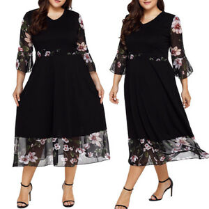 Women-Midi-Dresses-V-Neck-Wrap-Floral-Long-Sleeve-Plus-Size-Party-Prom-Dress-UK