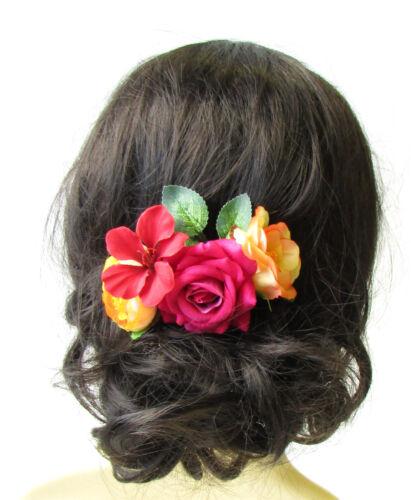 Hibiscus Rose Caribbean Flower Hair Comb Tropical Hot Pink Orange Red Clip 1586