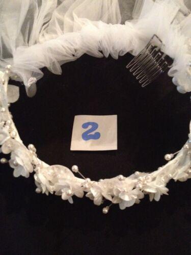 Sugar Plum Communion Flower Girl White Veil Pearl Flower Bow Tulle Wreath Halo