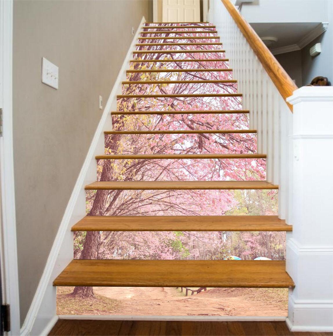 3D Pink tree road 688 Risers Decoration Photo Mural Vinyl Decal Wallpaper US