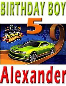 Hot Wheels Team Green Car Birthday Boy Shirt Name Age Personalized