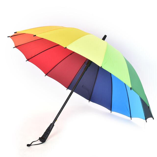 Large Bright Multi Colorful Rainbow Golf Umbrella Unisex Parasol For
