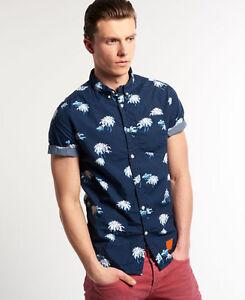 New Mens Superdry Southbank Surf Shirt Miami Palms Blue