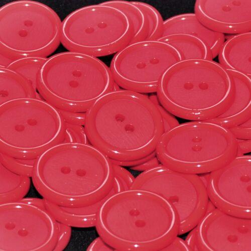 Mercerie lot de 5 Boutons plastique ronds rouge mat et brillant 23mm button