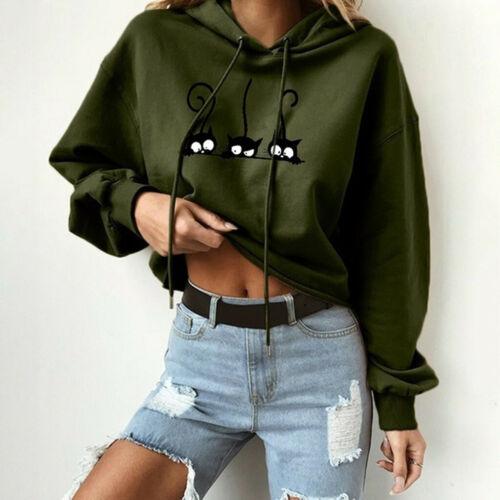 Women Ladies Cat Print Solid Long Sleeve Hoodie Sweatshirt Pullover Tops Blouse