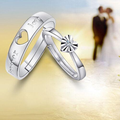 Bijoux de Mariage en Forme de Cœur Bagues Réglables en Argent Plaqué