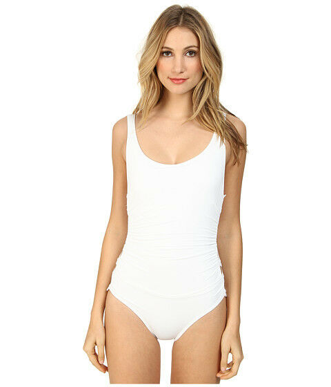 DKNY COVER RING SOLIDS MAILLOT ONE PIECE SIDE DETAILING WHITE SIZE 6 NEW   118