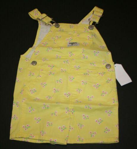 New OshKosh Girls Heart Bib Pocket Yellow Overalls Vestbak Shorts 3T 4T 5T