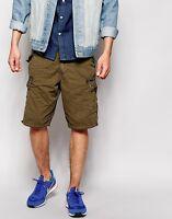 brave soul mens khaki cargo combat shorts ~ SIZE SMALL ~ Free P&P