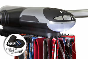 Motorized-Tie-Rack-For-Closet-Organizer-LED-Light-W-Travel-Tie-Pouch-and-Clip