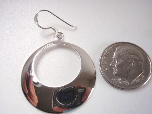 Convex Crescent Circle Earrings 925 Sterling Silver Dangle Corona Sun Jewelry
