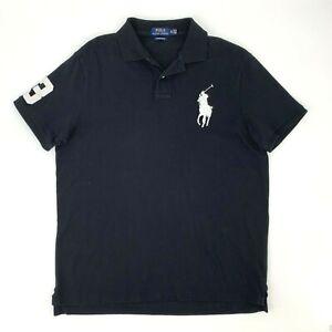 Polo-Ralph-Lauren-Polo-Shirt-Men-039-s-Size-XL-Custom-Slim-Fit-Black-Big-Pony-Collar