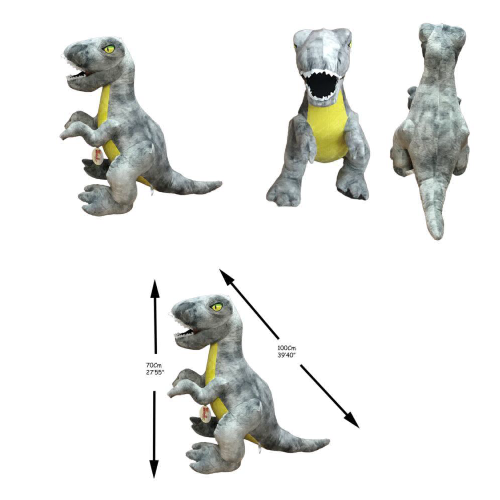 BJP Jumbo jurasic Giocattolo Peluche Dinosauro Tyrannosaurus Rex Gigante Grigio 27  70cm quali