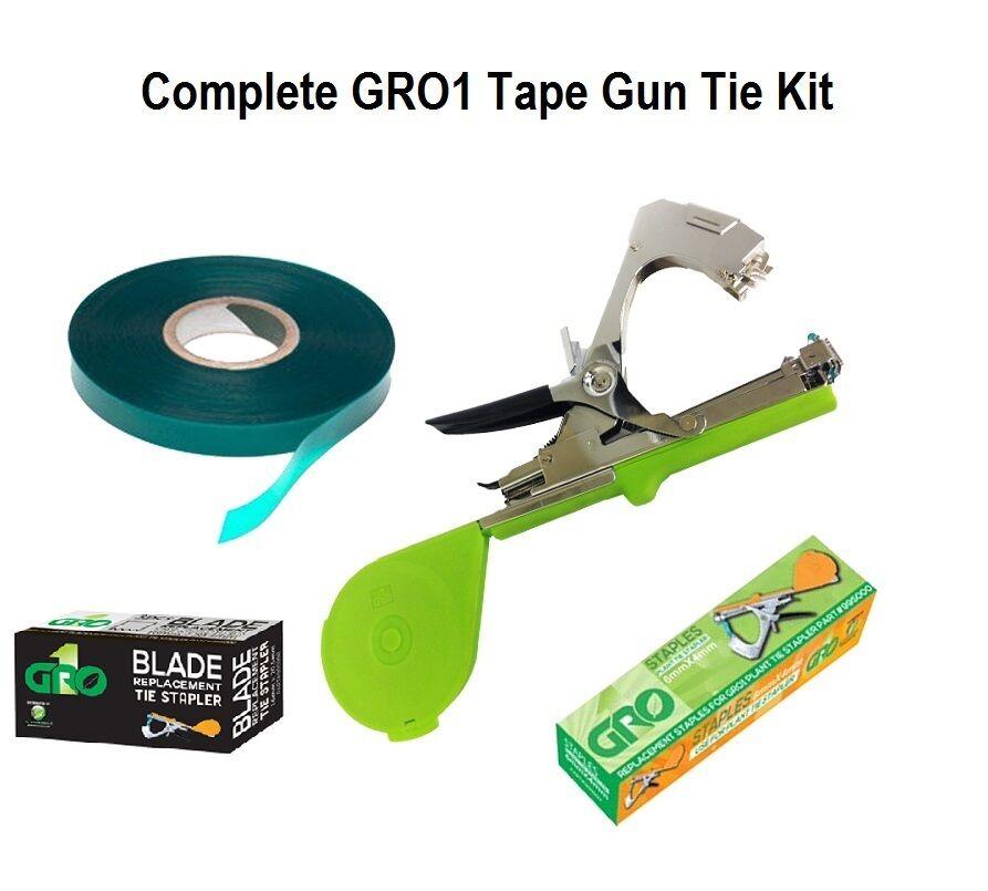 Complete Gro1 Plant Branch Tape Gun Kit - Staples, Tie Tape, Blades & Tape Gun
