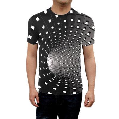 3D Hypnosis Swirl Print Women Men Casual TShirts Tee Tops Short Sleeve Graphic