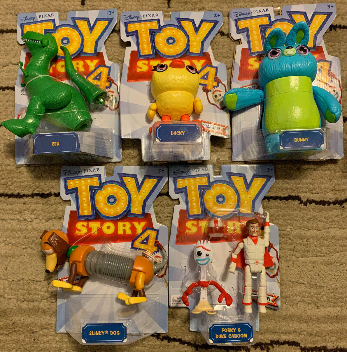 Toy Story 4 Posable Figures Lot Rex Ducky Bunny Slinky Dog Forky & Duke Caboom
