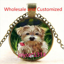Yorkshire Terrier Cabochon bronze Glass Chain Pendant Necklace TS-4709