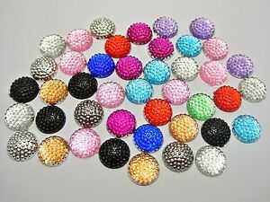 100-Mixed-Color-Flatback-Resin-Dotted-Round-Rhinestone-Cabochon-Gems-12mm