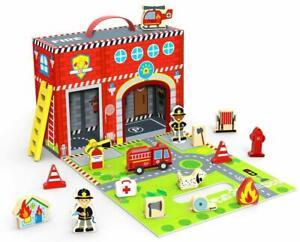 Tooky-Toys-Estacion-de-Bomberos-Caja-18-Pieza-Juego-Juguete-Madera-amp-Accesorios
